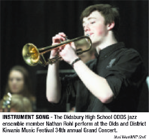 The Didsbury High School Odds jazz ensemble member Nathan Rohl perform at the Olds and District Kiwanis Music Festival 34th Annual Grand Concert.