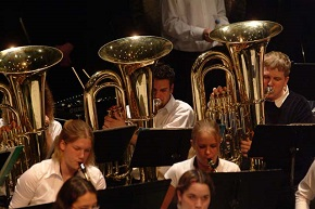 Students participating in the DHS Band Program playing Tuba